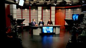 In the studio with Bruno Ferreira, center, and Gabriela Milian, right, interviewing Vice President for International and Global Affairs at Rutgers University, Dr. Eric Garfunkel, left.