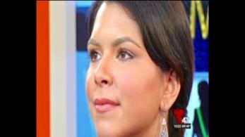 "Gabriela modeling for Telemundo 47's ""Acceso Total"" beauty segment."